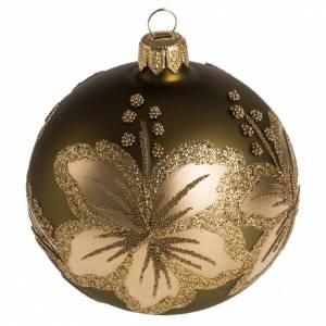 Boule de Noel dorée fleurs 8 cm s1