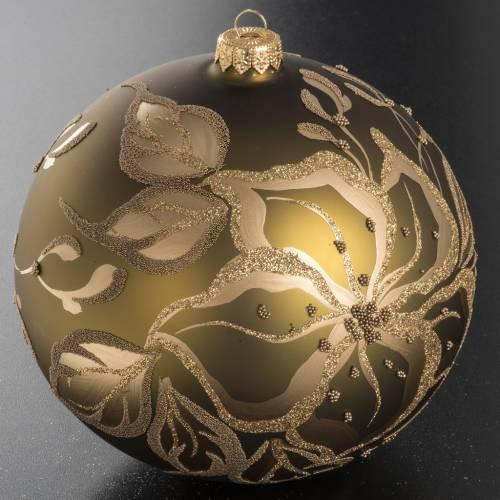 Boule de Noel dorée verre décoré 15 cm s2