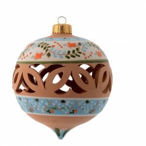 Décorations sapin bois et pvc: Boule de Noël pointue bleue 100 mm terre cuite Deruta