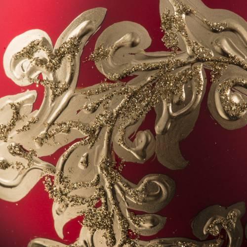 Boule de Noel rouge feuilles or 10cm s3