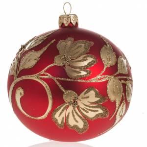 Boule de Noel rouge verre soufflé 10cm s1