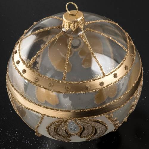 Boule de Noel transparente verre or 10 cm s2