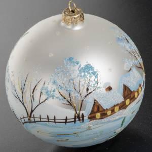 Boule de Noel verre blanc paysage enneigé 12 cm s2