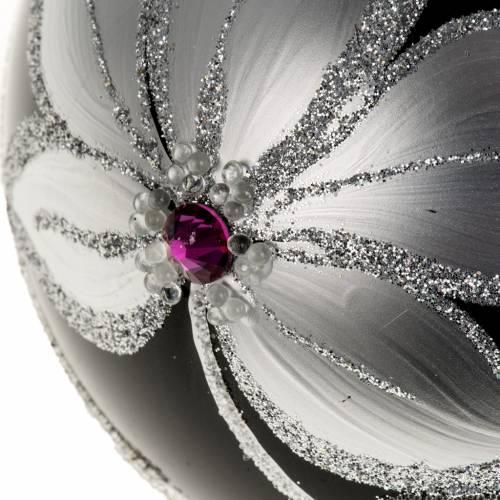 Boule de Noel verre noir peint à la main fleurs 10 cm s2