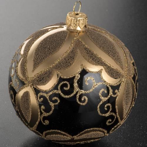 Boule de Noel verre noir peint à la main or 10 cm s3