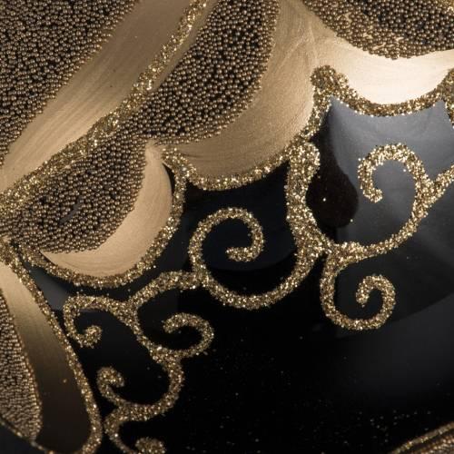 Boule de Noel verre noir peint à la main or 10 cm s4