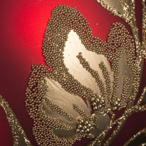 Boule de Noel verre rouge feuilles fleurs or 8cm s3