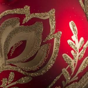 Boule de Noel verre rouge fleurs or 8cm s3