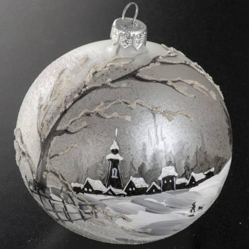 Boule de Noel verre satiné paysage hivernale 10 cm s3
