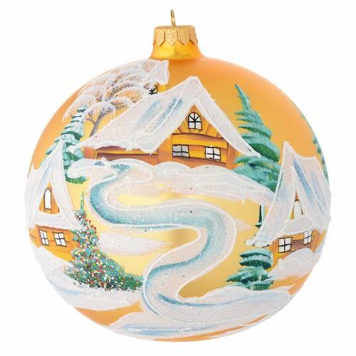 Boule Noël verre soufflé or décor maisons 150 mm s1