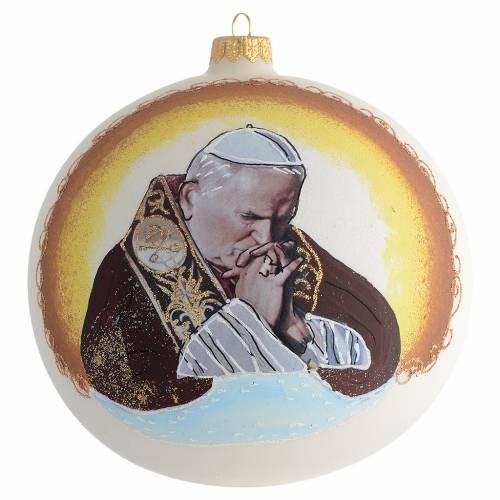 Boule pour Noël image Jean-Paul II verre soufflé 150 mm s1