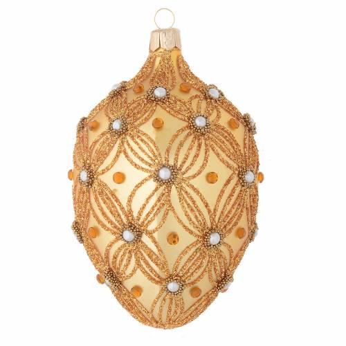 Boule sapin Noël ovale or décor en relief 130 mm s2