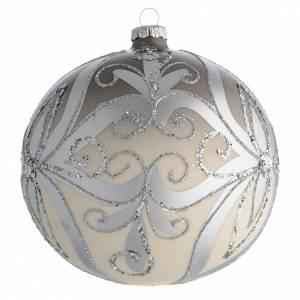 Boule sapin Noël verre soufflé argent 150 mm s2