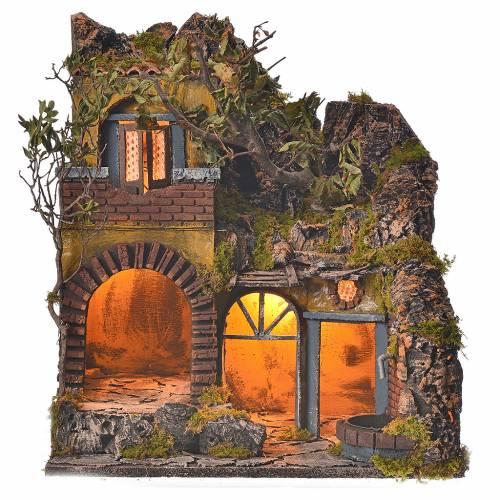 Bourg en miniature crèche Napolitaine style classique cascade s1