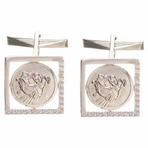 Boutons manchettes en argent 800 rhodié St Antoine Padou 1,7x1,7 cm s3
