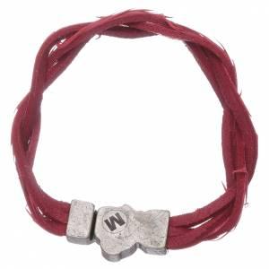 Bracciale AMEN rosso pelle intrecciata con simbolo della Passione s2