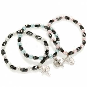 Bracciale elastico ematite e imitazione perla s1