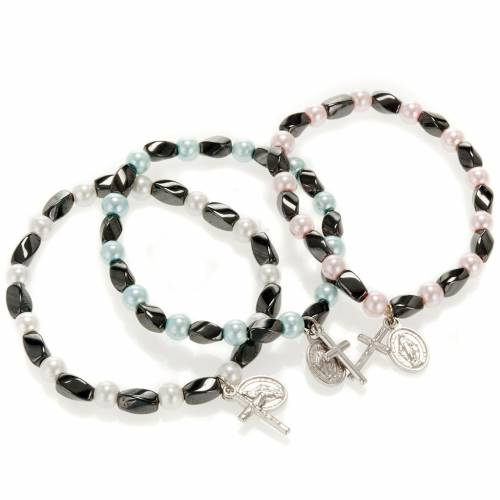 Bracciale elastico ematite e imitazione perla 1