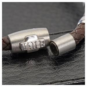 Bracciali in argento: Bracciale MATER marrone croce e decina argento 925