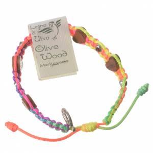 Bracciali, coroncine della pace, decine: Bracciale Medjugorje corda multicolor cuori ulivo