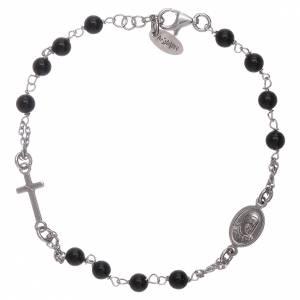 Bracciale rosario Amen arg 925 agata nera s2