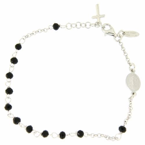 Bracciale rosario AMEN croce charm arg 925 cristalli fin. Rodio s2