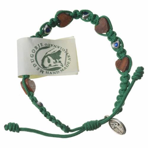 Bracciale ulivo cuori Medjugorje corda verde s2