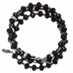 Bracciali, coroncine della pace, decine: Braccialetto a molla perline nere croce Madonna Medjugorje