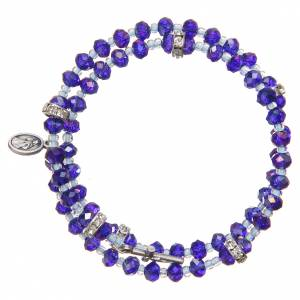 Braccialetto a molla perline viola blu croce Madonna Medjugorje s2