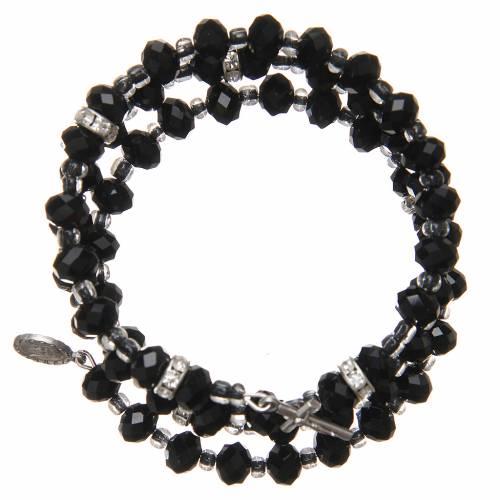 Bracelet à ressort perles noires croix Notre-Dame Medjugorje s1