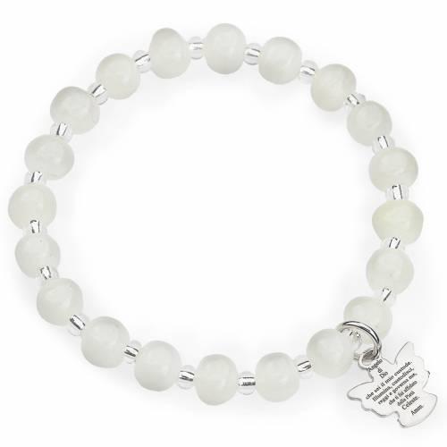 Bracelet Amen enfant perles Murano blanc argent 925 s1