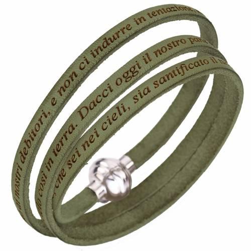 Bracelet Amen Notre Père vert sauge Italien s1