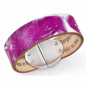 Bracelet Amen Pape François cuir fuchsia s1