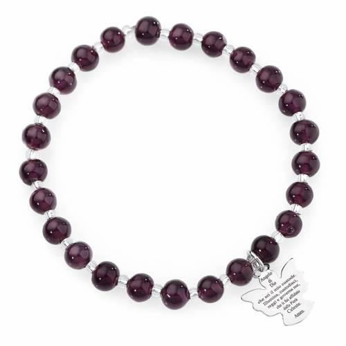 Bracelet Amen perles verre Murano violet 6 mm argent 925 s1