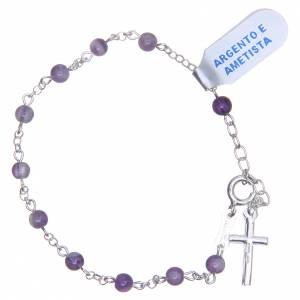 Bracelet améthyste argent 800 4 mm croix s2