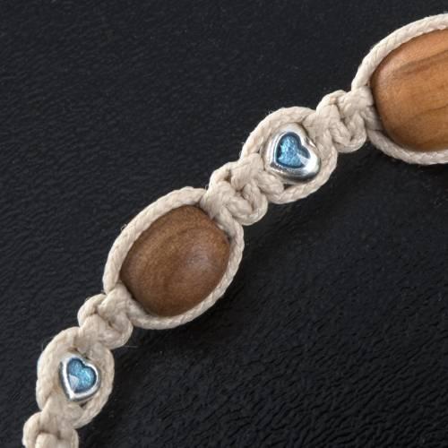 Bracelet bois d'olivier et coeurs multicolore s3