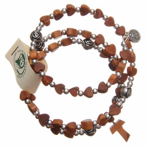Bracelet bois olivier Medjugorje coeurs s2