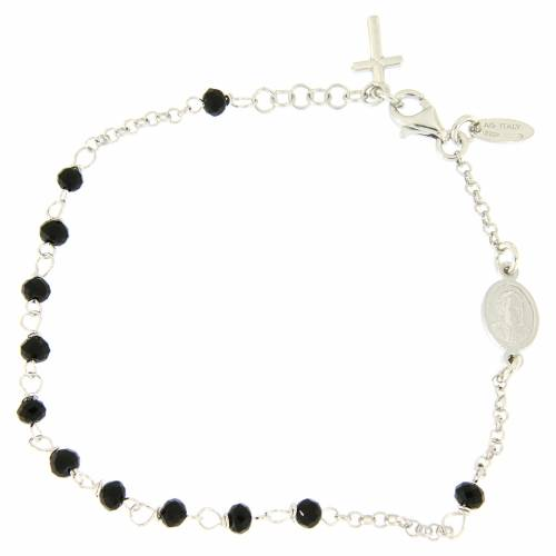 Bracelet chapelet AMEN croix charm argent 925 cristaux fin. rhodium s2