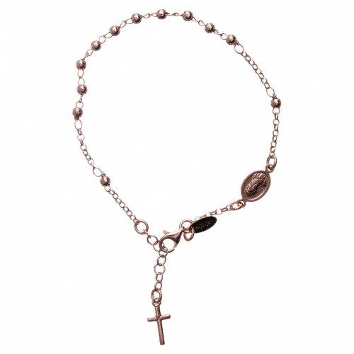Bracelet chapelet AMEN croix charm argent 925 fin. rosée s2