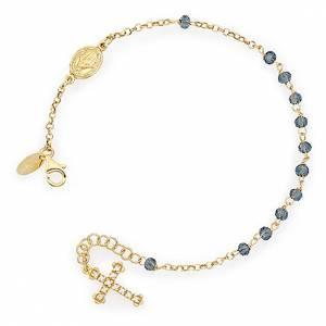 Bracelet chapelet AMEN croix charm pavé cristaux verts arg doré s1