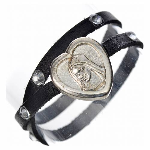 Bracelet cuir noir et Swarovski image Vierge Marie s1