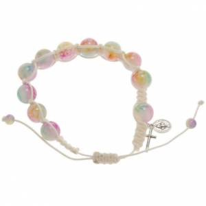 Bracelet dizainier corde perles verre multicolore s1