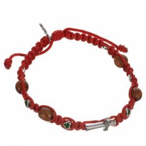 Bracelets, dizainiers: Bracelet dizainier croix, coeurs et bois d'olivier