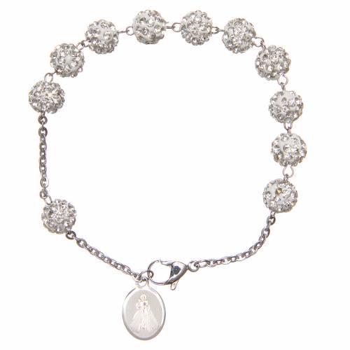 Bracelet grains blancs brillants Medjugorje s2