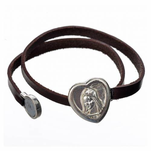 Bracelet image Vierge Marie cuir marron foncé s2