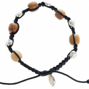 Bracelets, peace chaplets, one-decade rosaries: Bracelet in olive wood and hearts, Medjugorje