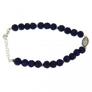 Silver bracelets: Bracelet in silver and blue lava stone, with Saint Rita medalet and black zircons