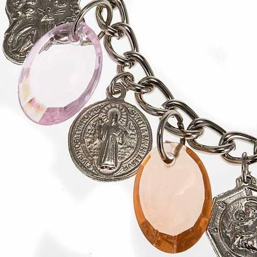 Bracelet médailles colorées et argent s4