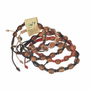 Bracelet perles en bois d'olivier 9 mm sur corde s1
