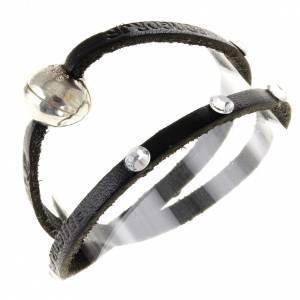 Bracelets divers: Bracelet Swarovski et cuir inscription Medjugorje